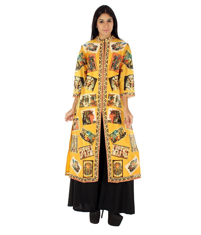 Kazumi Multicoloured Silk Front Slit Kurti