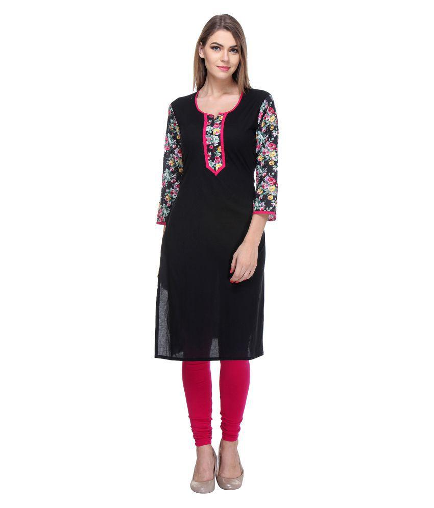 Raghuveer Fashion Black Cotton Straight Kurti