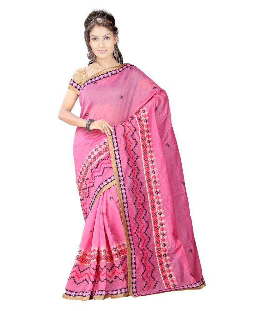 Kabira Pink Cotton Saree
