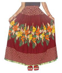 Jaipur Skirt Maroon Cotton A-Line Skirt