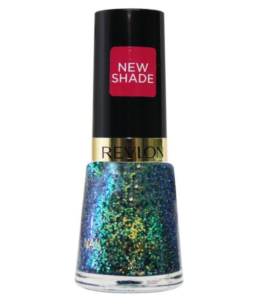 Revlon NIGHTS NAIL ENAMEL SUPER STAR Nail Polish Blue Blue Glitter ...