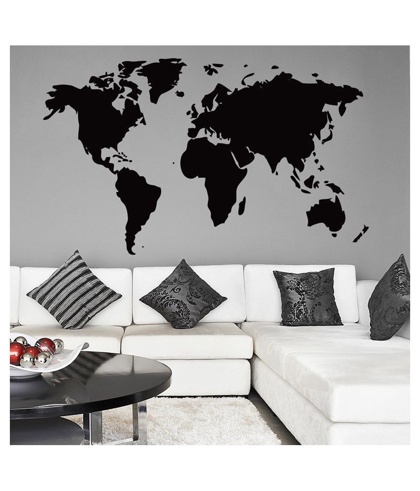 World map sticker for wall india - Wallmantra The World Map Vinyl Wall Stickers