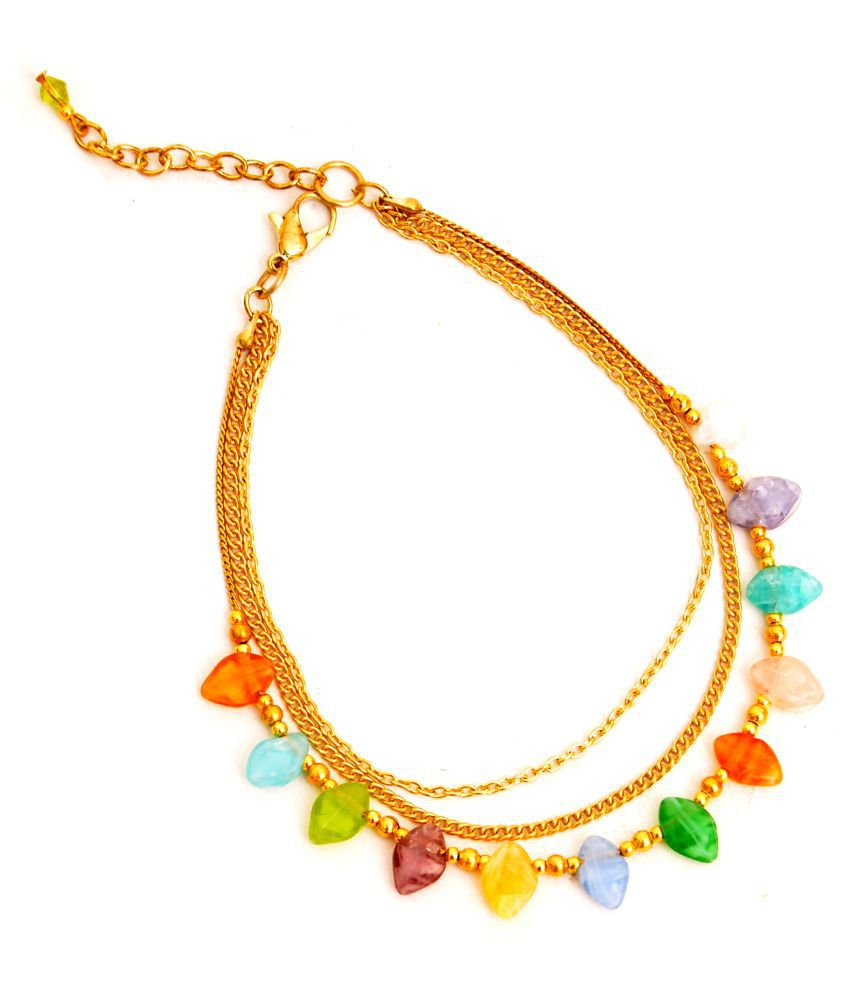 Zurri Stylish Multistrands Multicolor Anklet