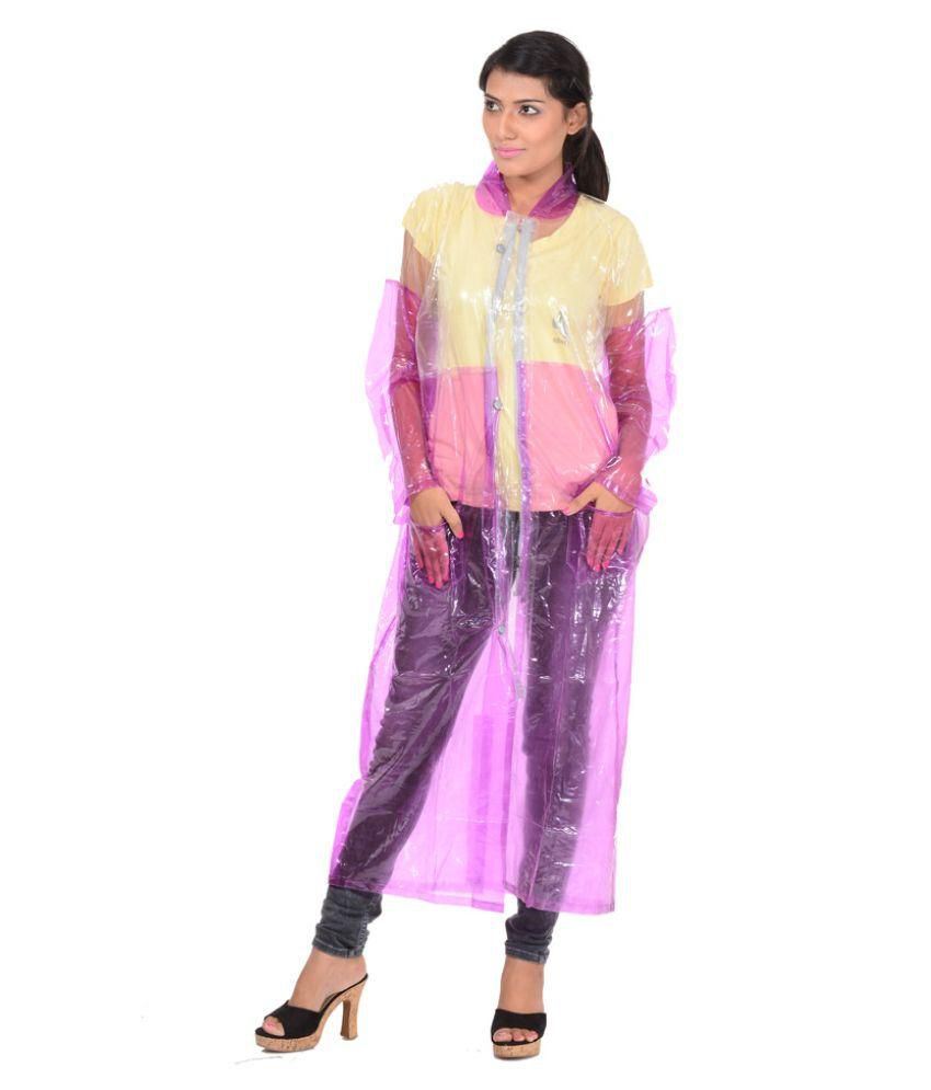 Allwin Pink Polyester Long Raincoat