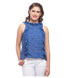 Dusky Flower Blue Georgette Regular Tops