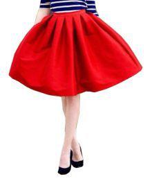 Poshak Mart Red Satin A-Line Skirt