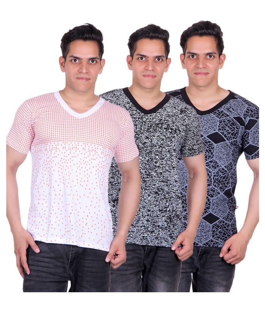White Moon Multi V-Neck T-Shirt - Pack of 3
