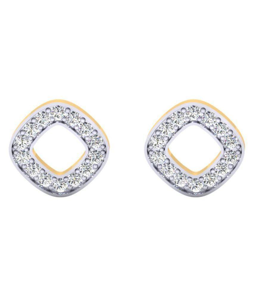 Samaira Gems & Jewels 14k BIS Hallmarked Gold Swarovski Studs