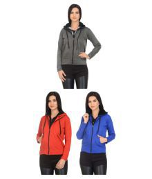 New Fashion Multi Color Fleece Hooded - Pack Of 3
