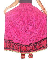 Jaipur Skirt Pink Cotton A-Line Skirt