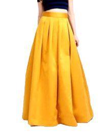 Poshak Mart Yellow Satin Pleated Skirt