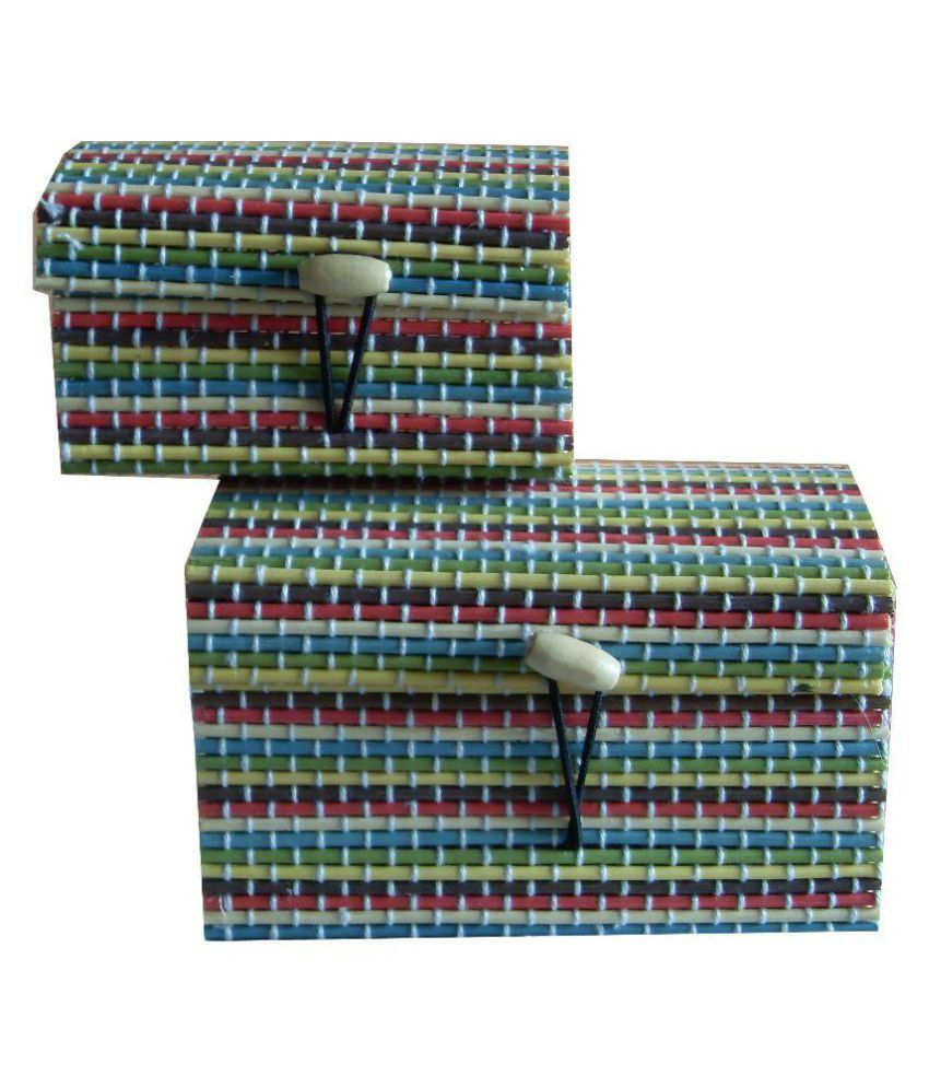 Ayaanglobal Mart Multicolour Jute Jewellery Box - Set of 2