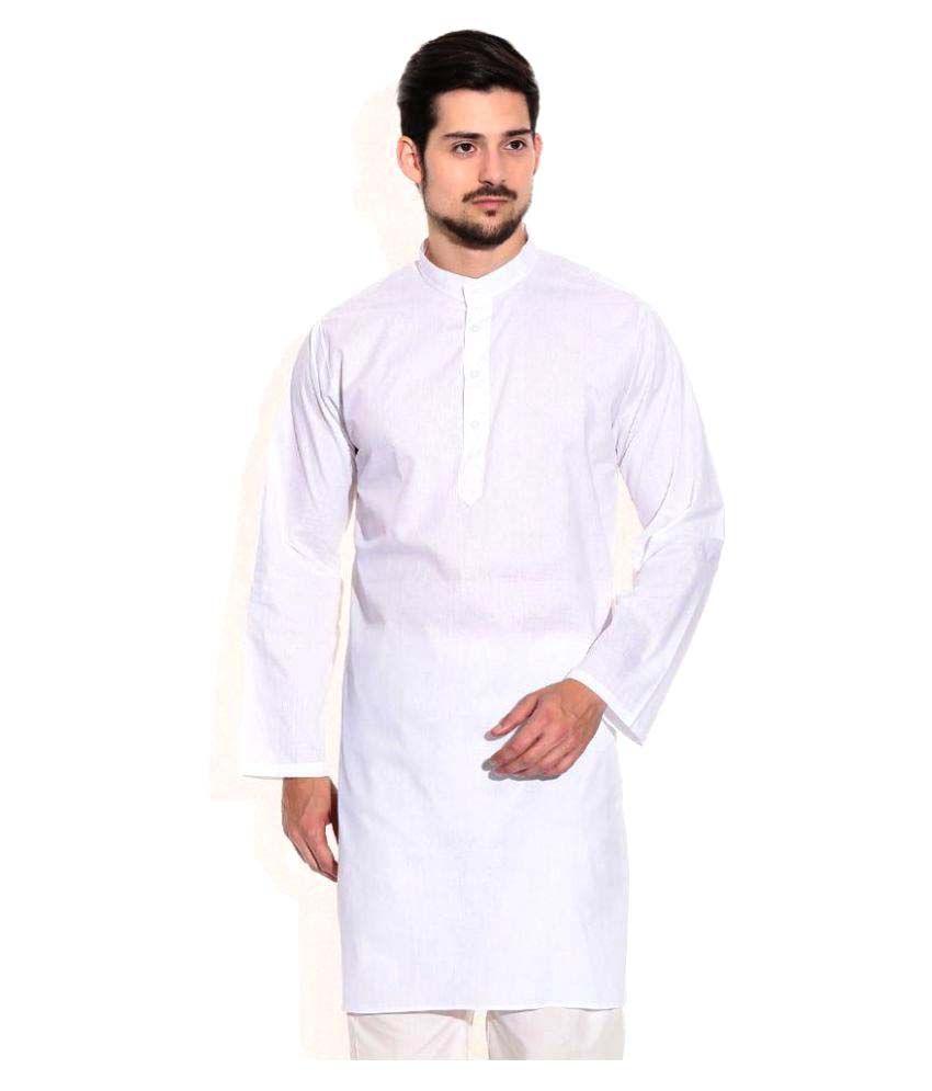 Focil White Cotton Kurta Pyjama Set