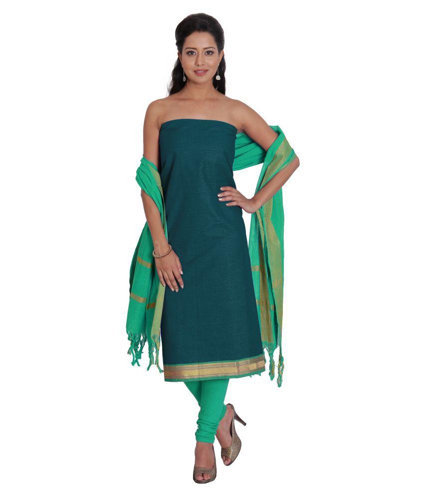 Platinum Turquoise Cotton Dress Material