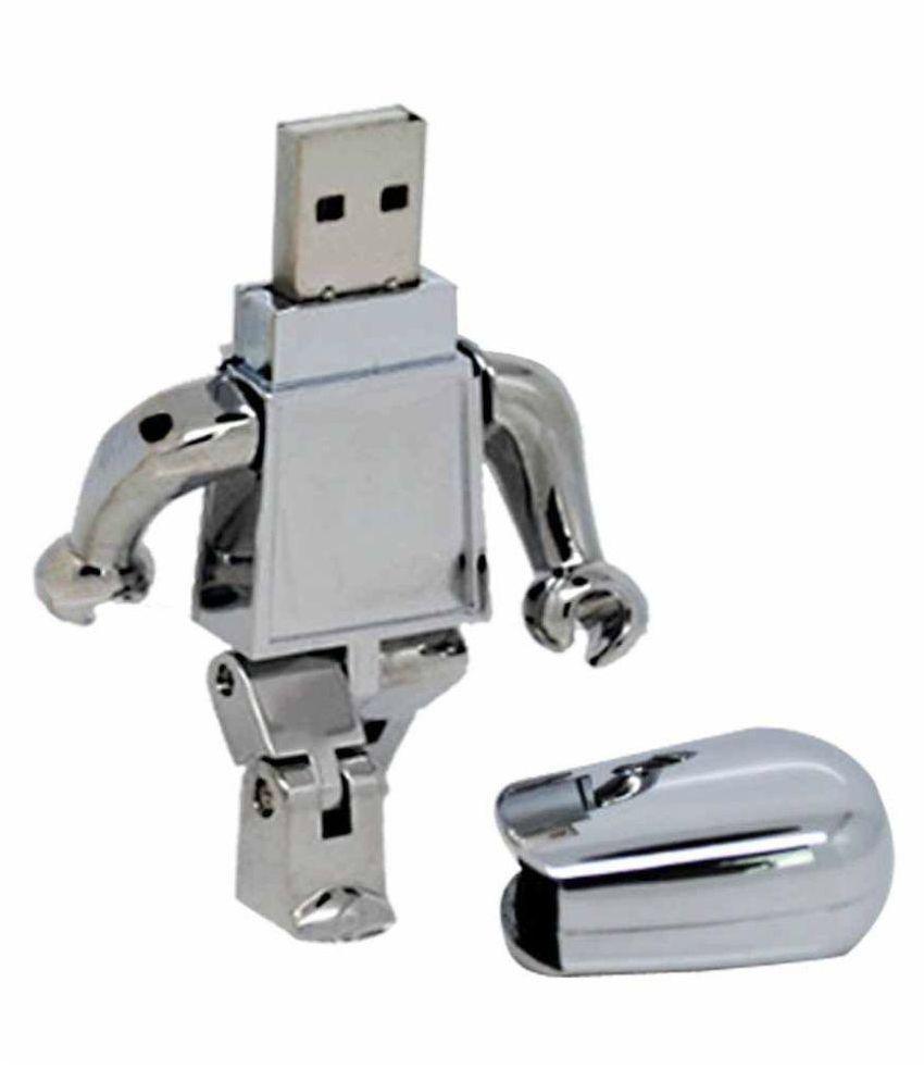 Quace Silver Robot 8GB USB 2.0 Fancy Pendrive Silver