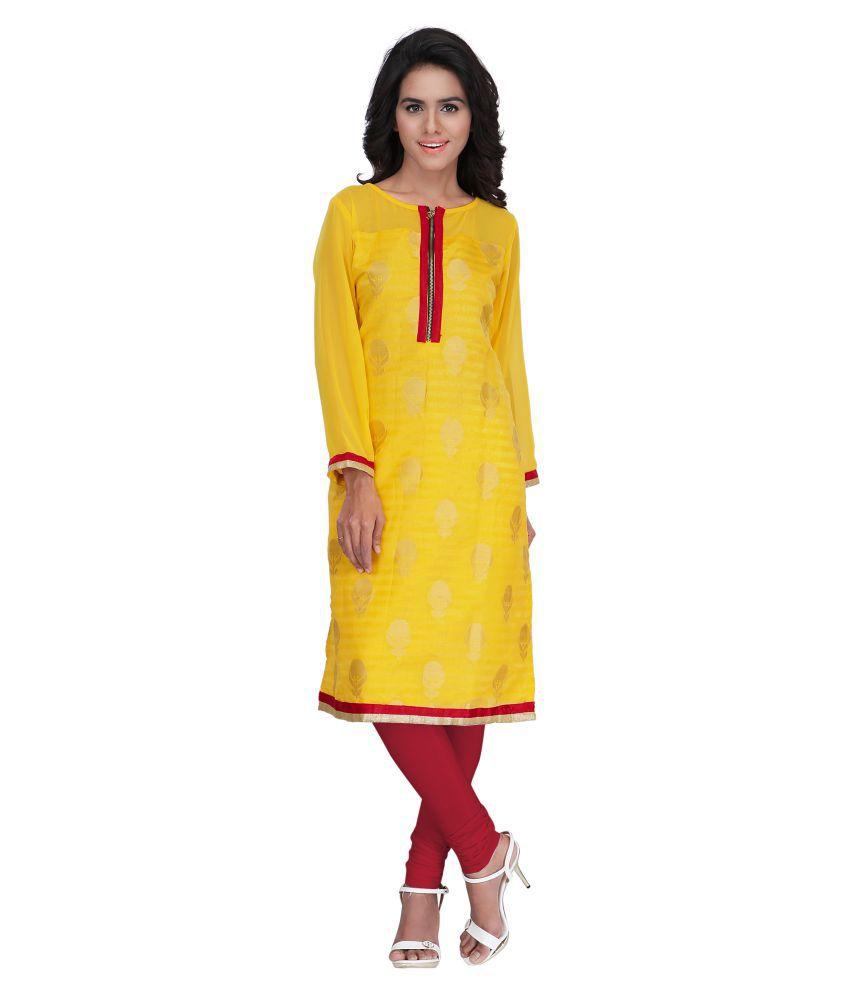 Threads Yellow Art Silk Straight Kurti