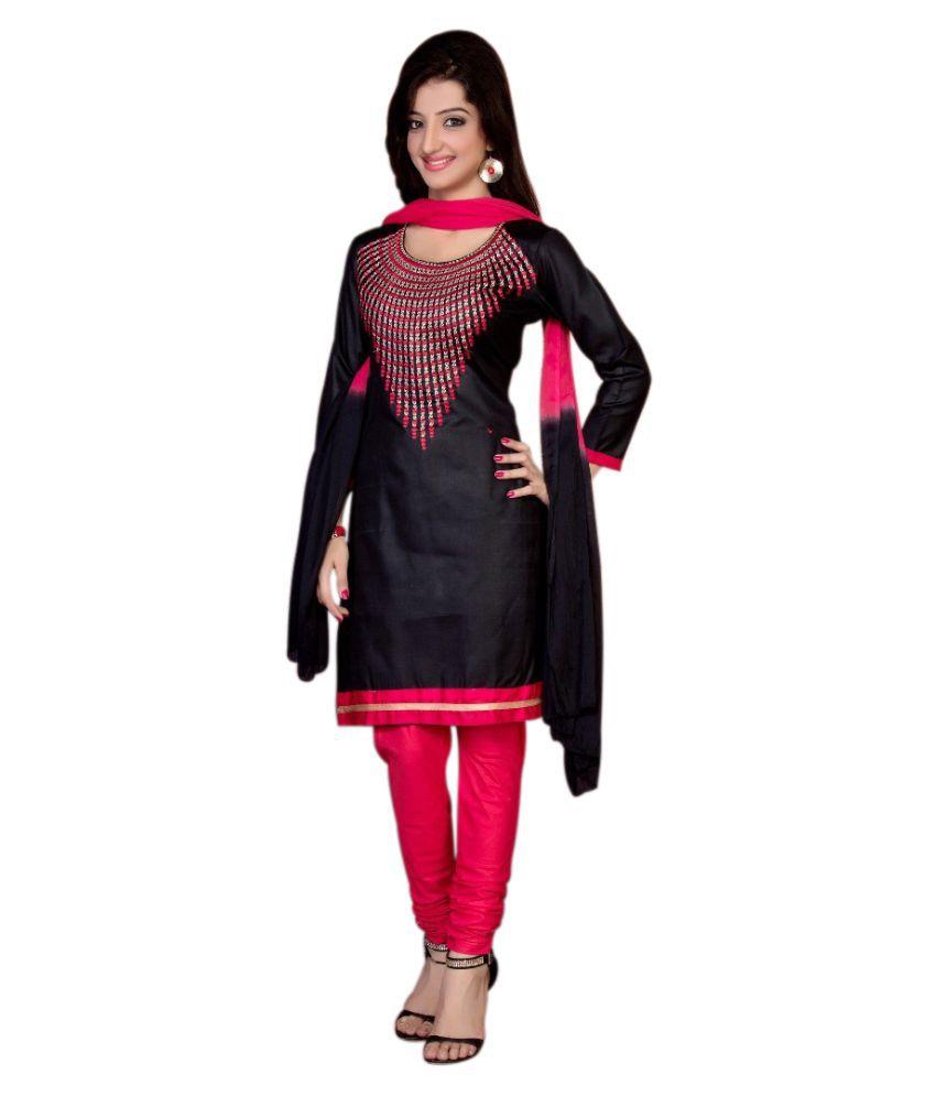 Fashions World Black Cotton Dress Material