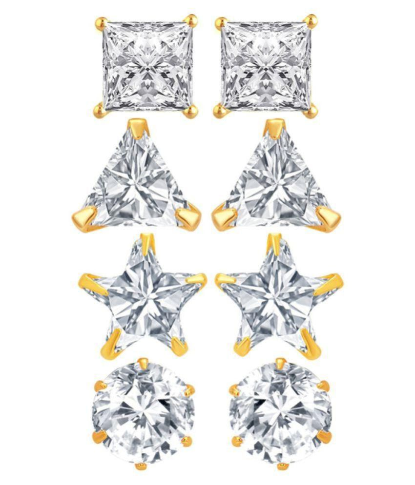 Renaissance Traders Solitaire Stud Earrings - Pair of 4