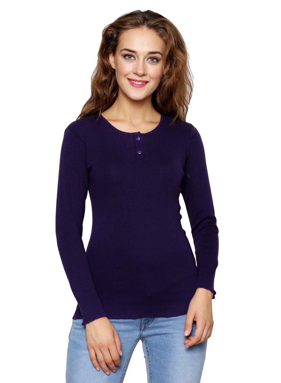Renka Blue Cotton Pullovers