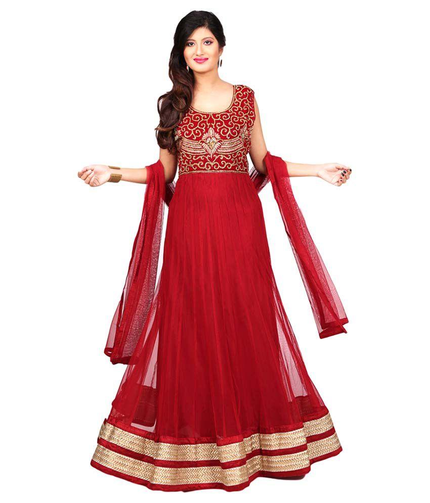Sharmili Red Net Anarkali Stitched Suit