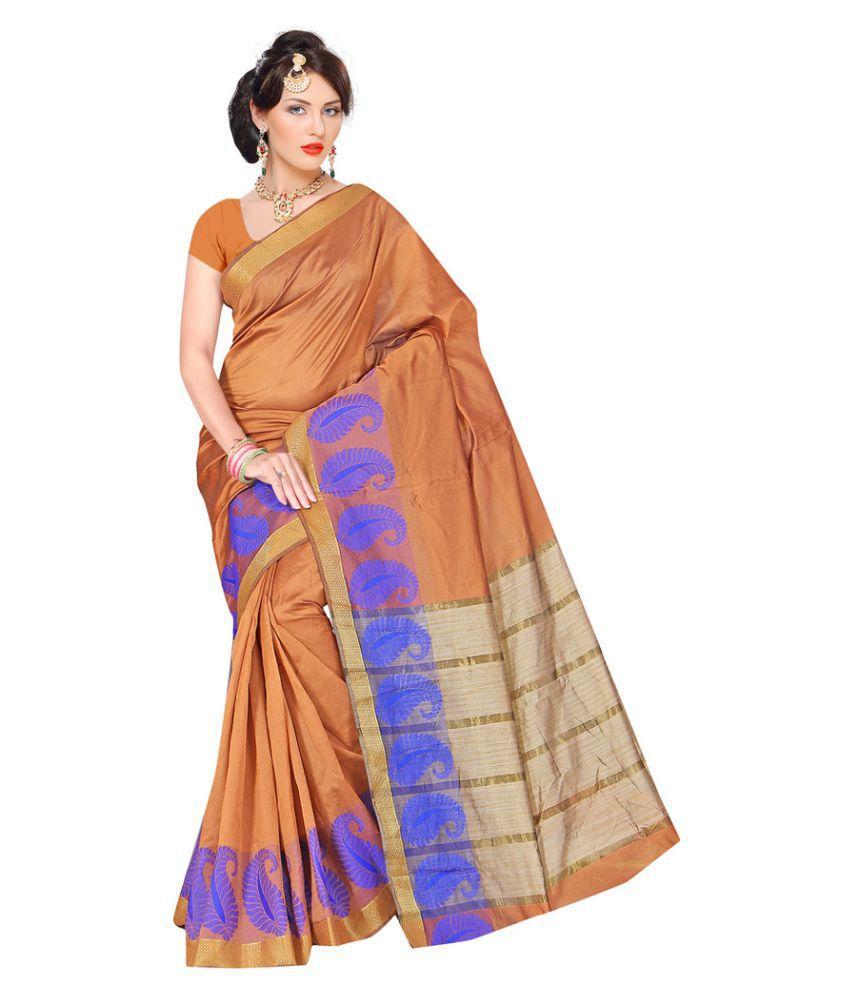 SnowFall Orange Banarasi Silk Saree