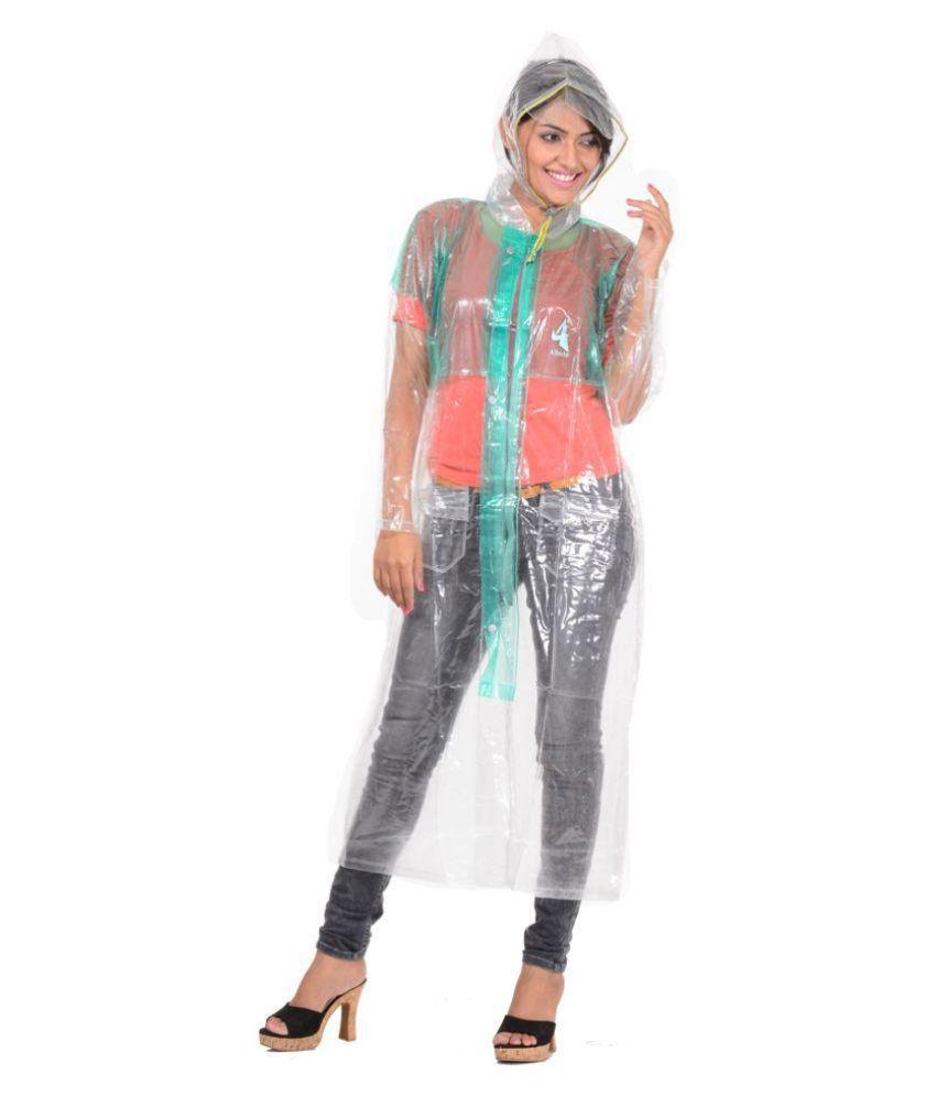 Allwin White Waterproof Long Raincoat