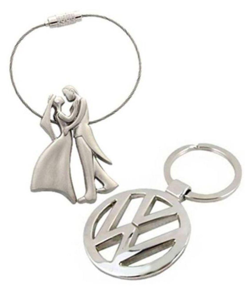 Furmito Silver Metal Key Chain - Set of 2
