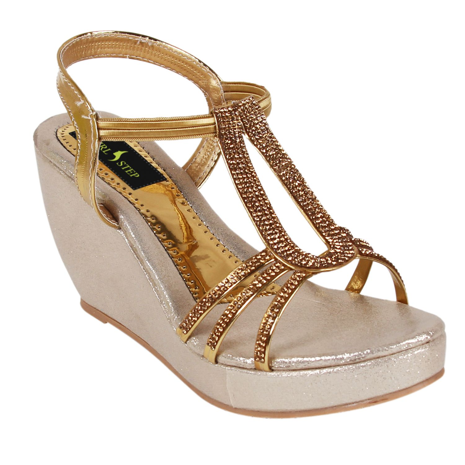 Girlstep Gold Wedges Heels