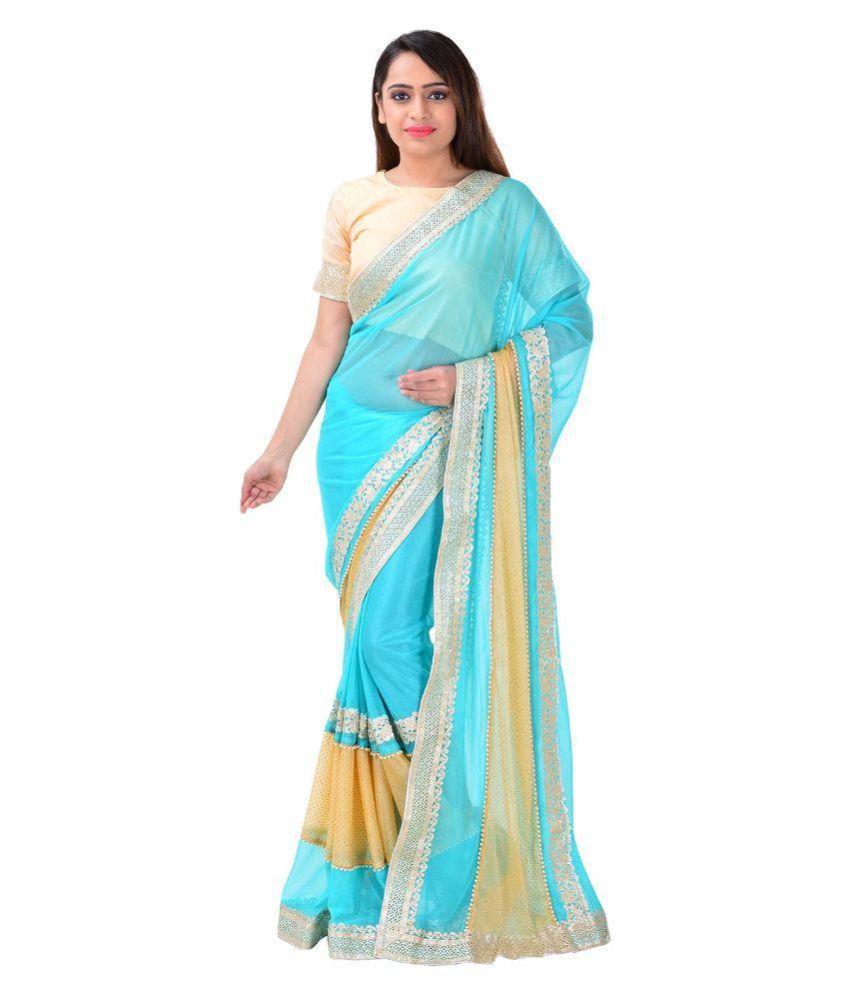 Shree Birla Enterprise Blue Lycra Saree