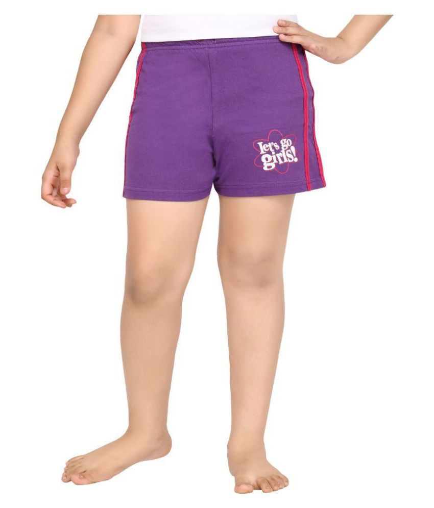 Punkster Purple Cotton Bermudas