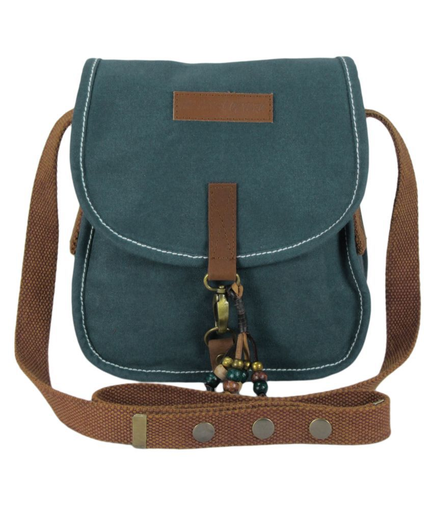 The House of Tara Turquoise Canvas Sling Bag