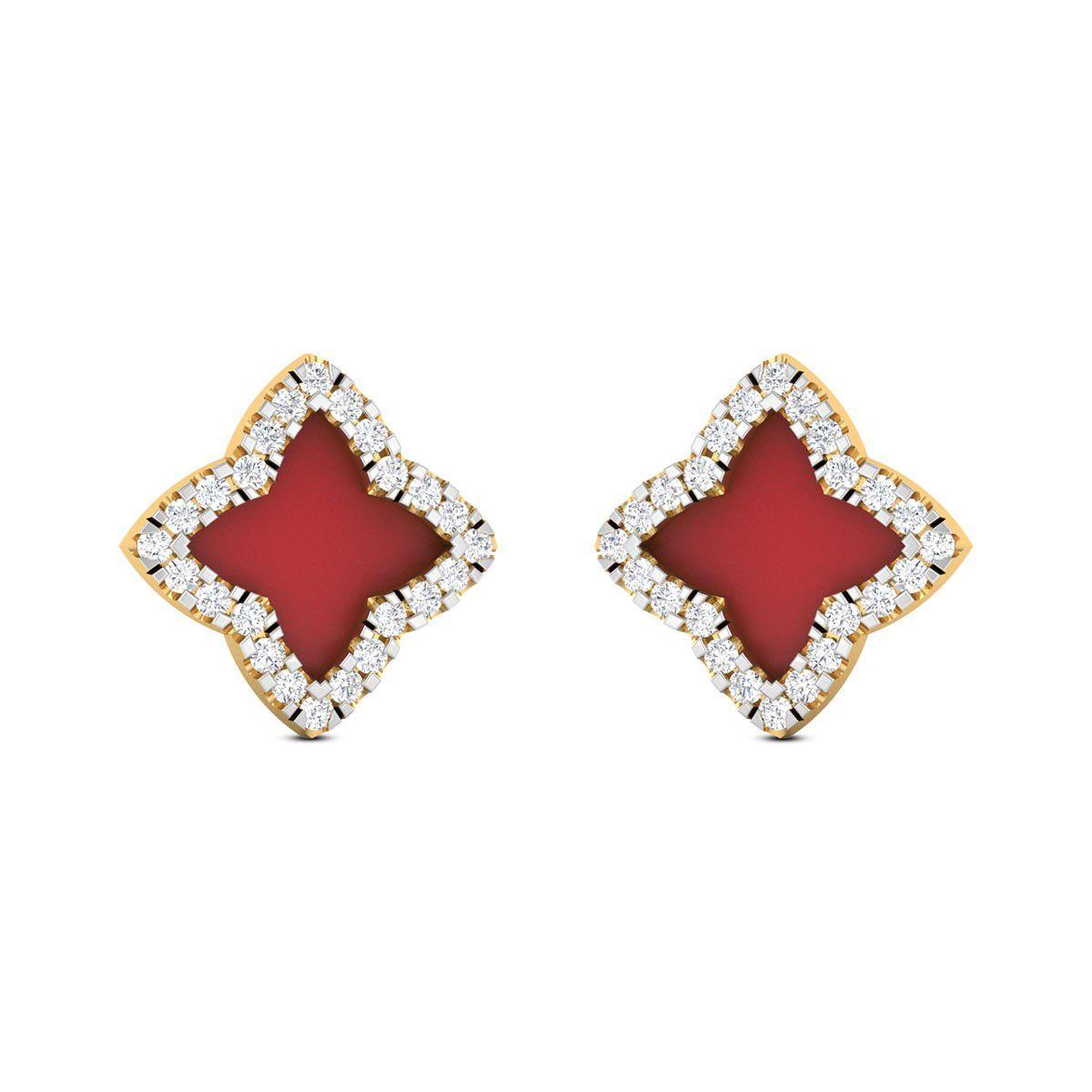 Zaamor Diamonds 18k BIS Hallmarked Yellow Gold Diamond Studs
