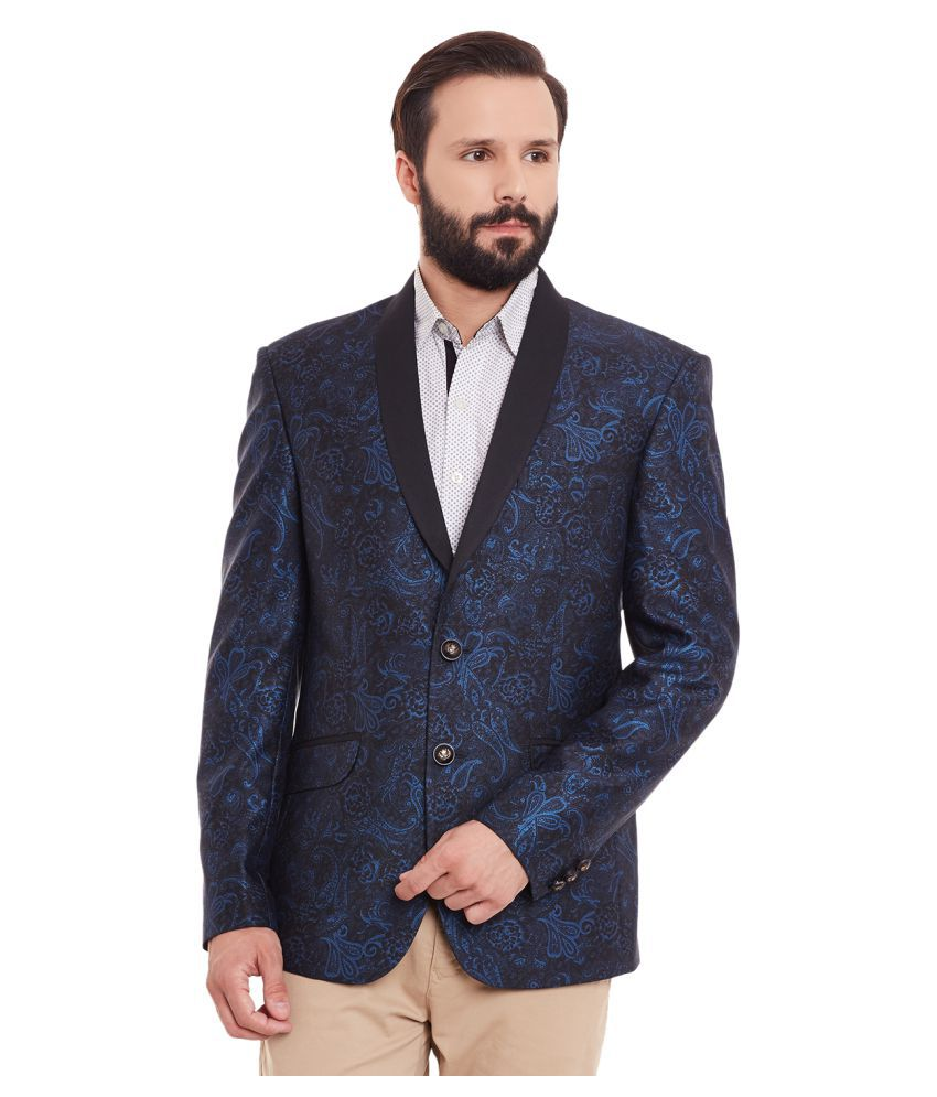 Canary London Blue Printed Casual Blazers