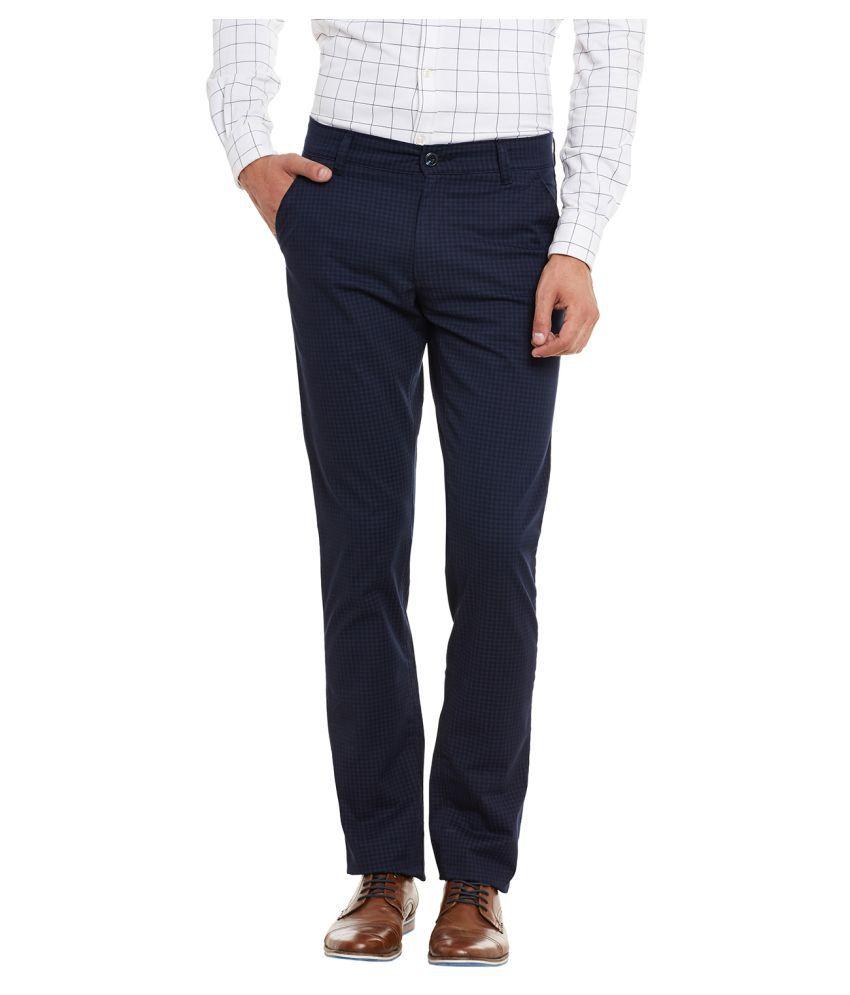 Canary London Navy Blue Slim Flat Trouser