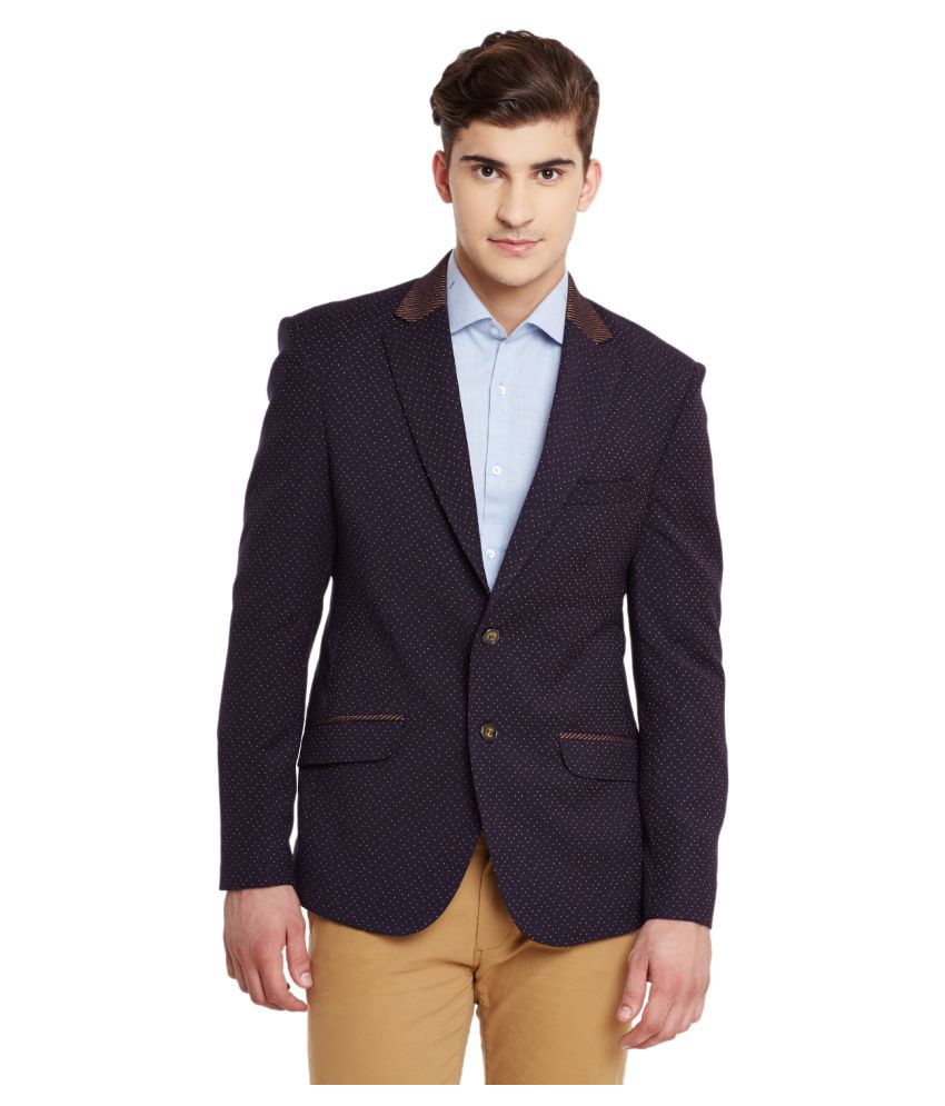 Canary London Navy Printed Casual Blazers