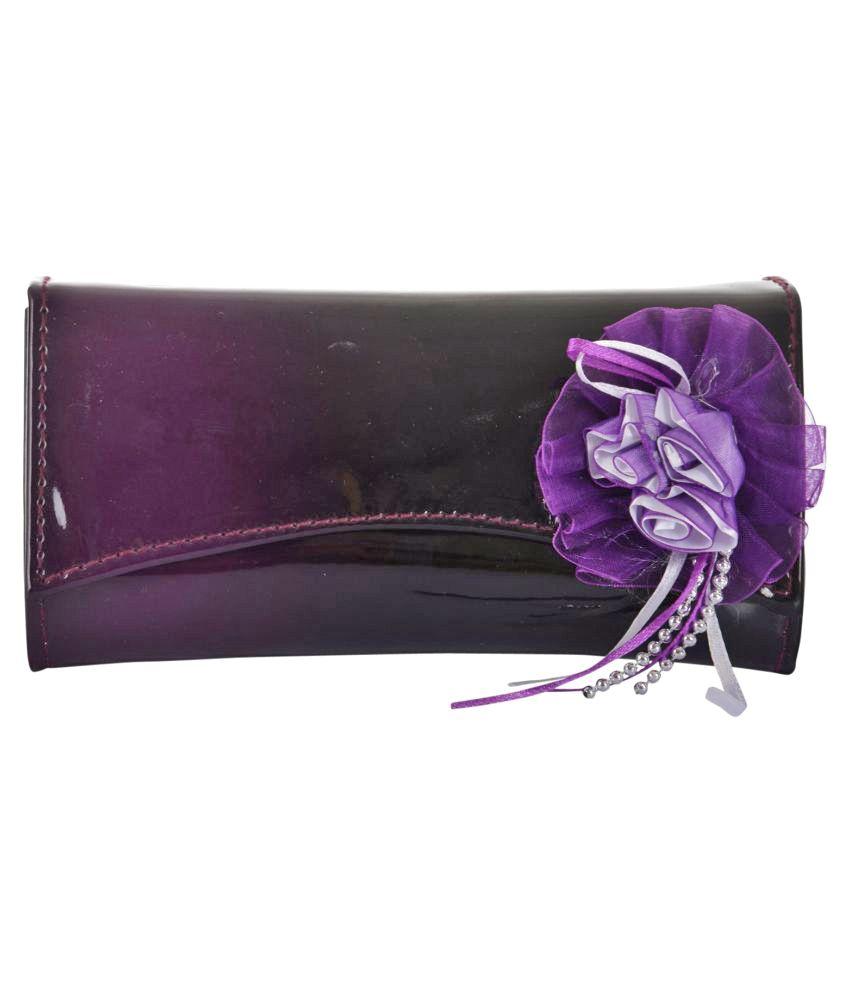 Chandan Purple Faux Leather Box Clutch