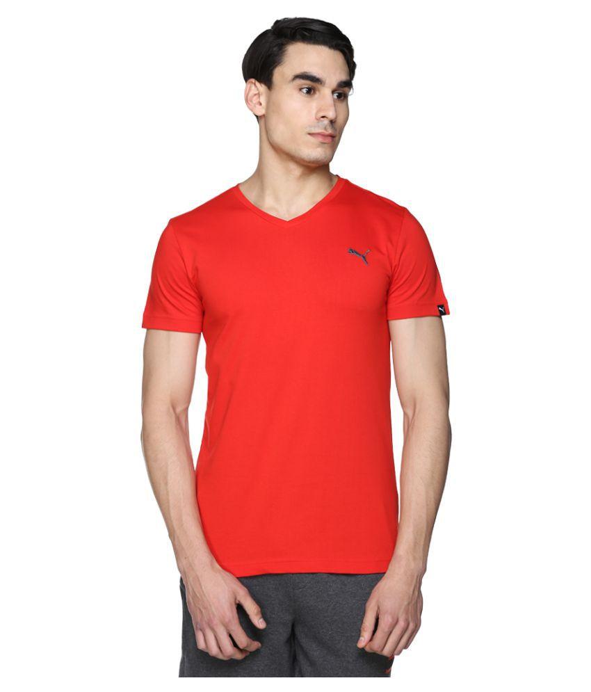 Puma Red V-Neck T-Shirt