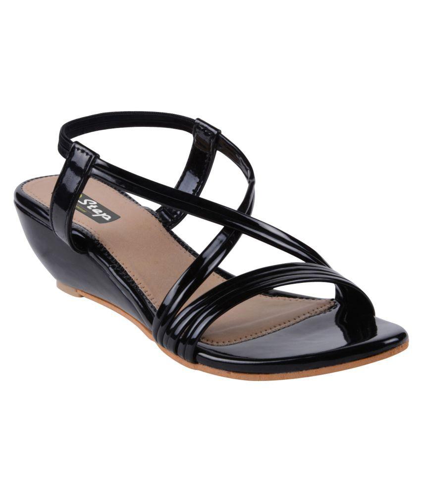 2 Step Black Wedges Heels