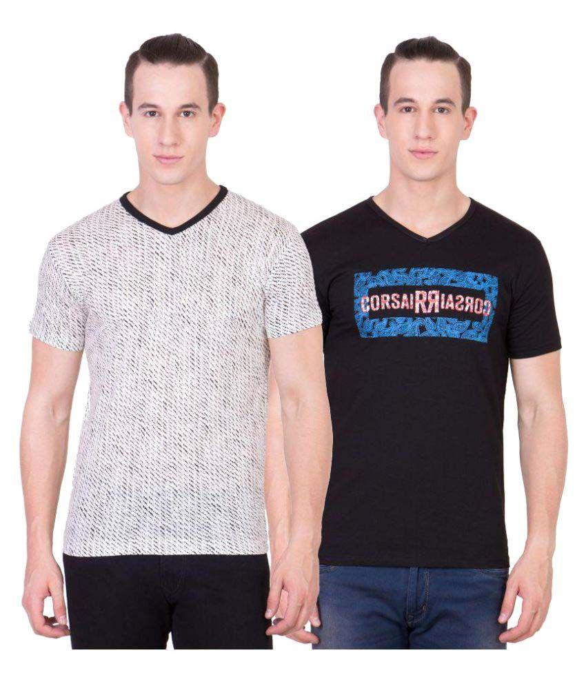 American-Elm Multi V-Neck T-Shirt Pack of 2