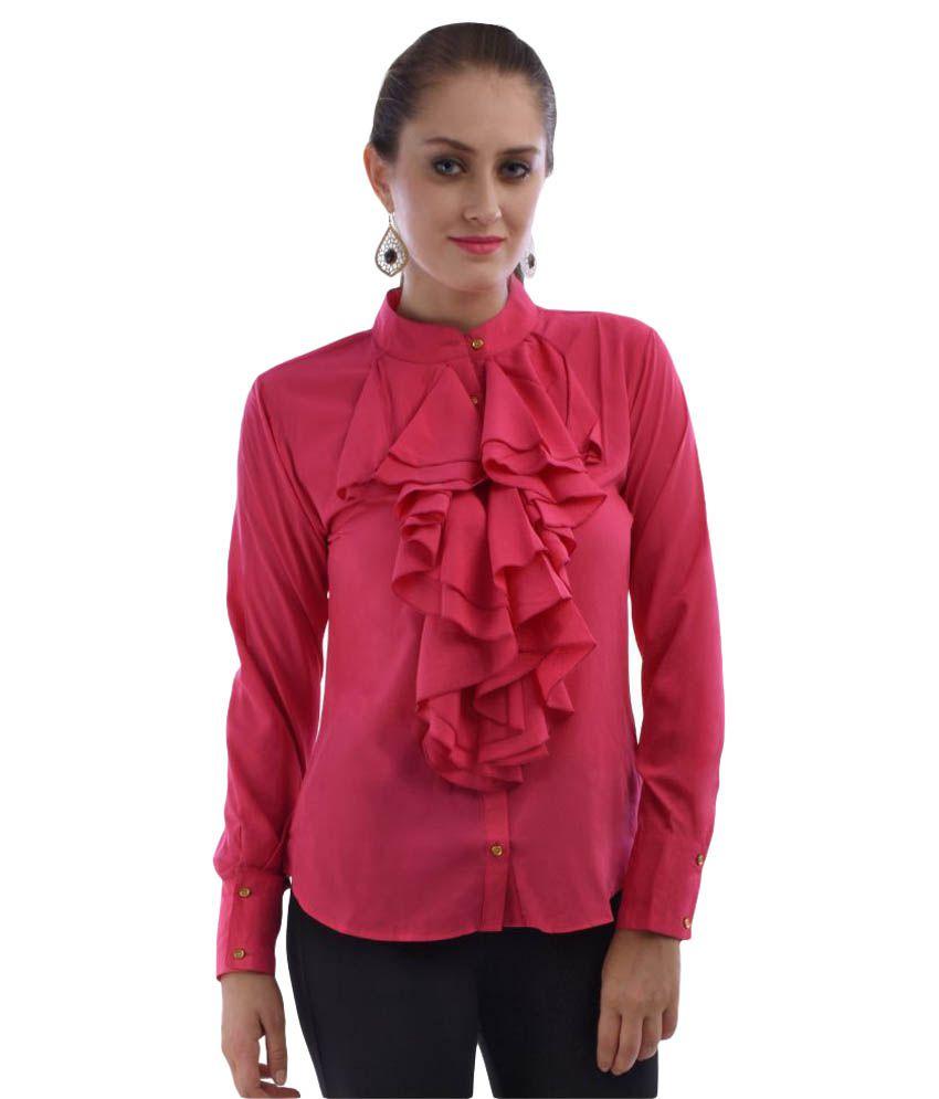 Limerance Pink Poly Crepe Shirt
