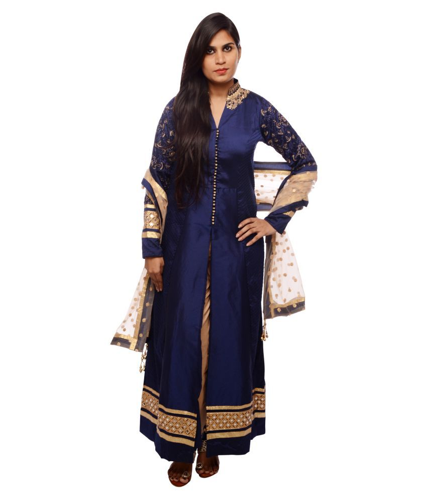 NK Blue Silk Anarkali Stitched Suit