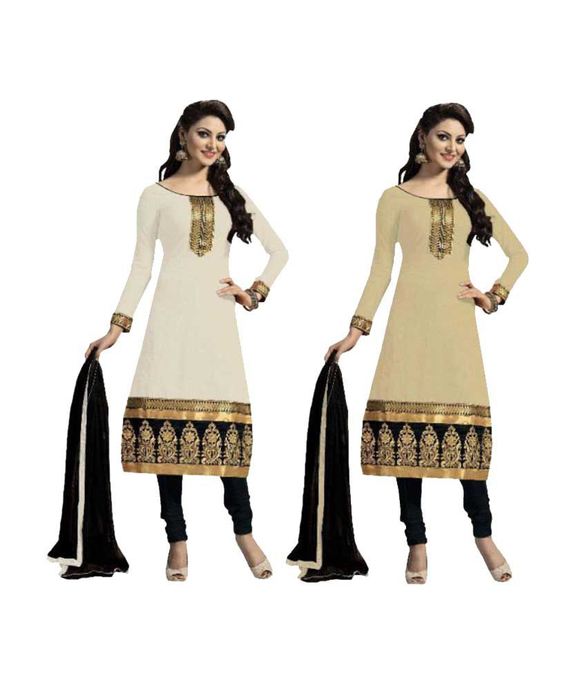Nilkanth Enterprise Beige Chanderi Dress Material