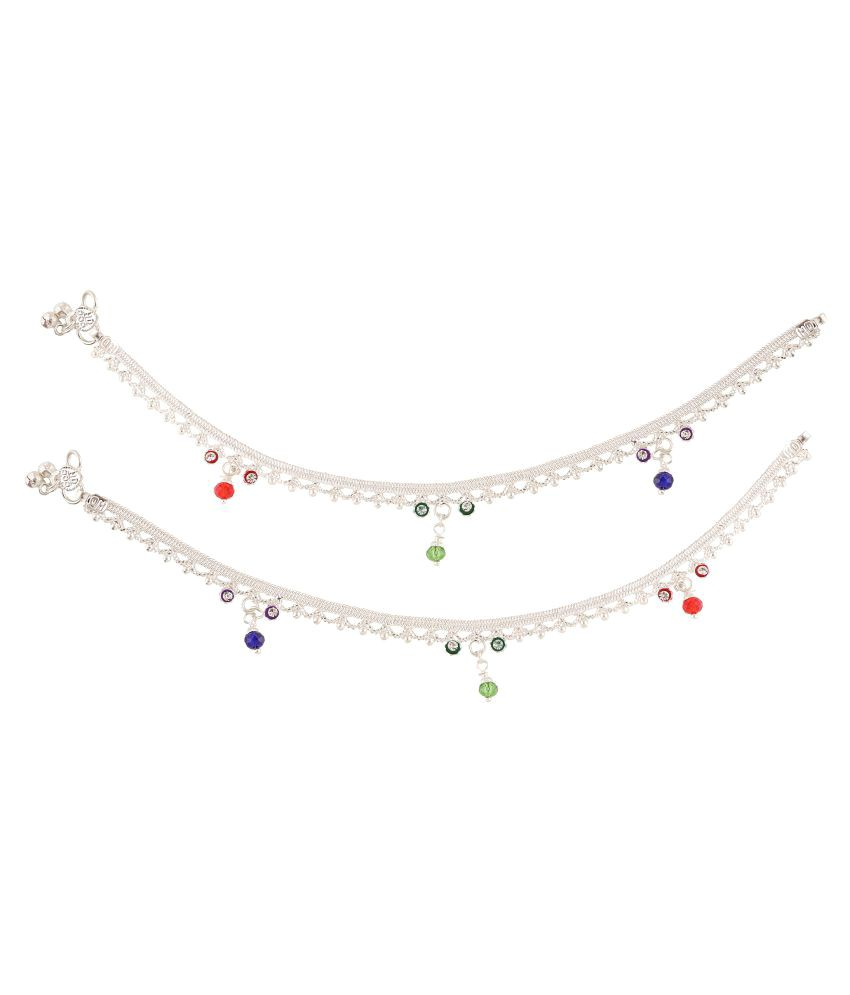 Fashionaya Silver Plated Alloy Pair of Anklets
