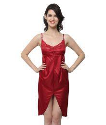 Miss Clyra Maroon Poly Satin Nighty & Night Gowns