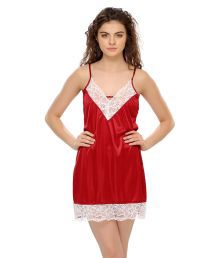 Miss Clyra Red Poly Satin Nighty & Night Gowns