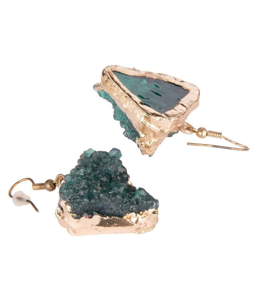 Diva Walk Gold Plated Green Druzzy Stone Hoop Earrings