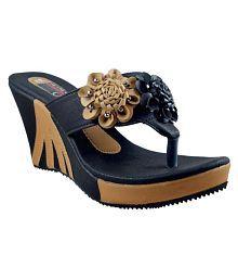 Olive Fashion Black Wedges Heels
