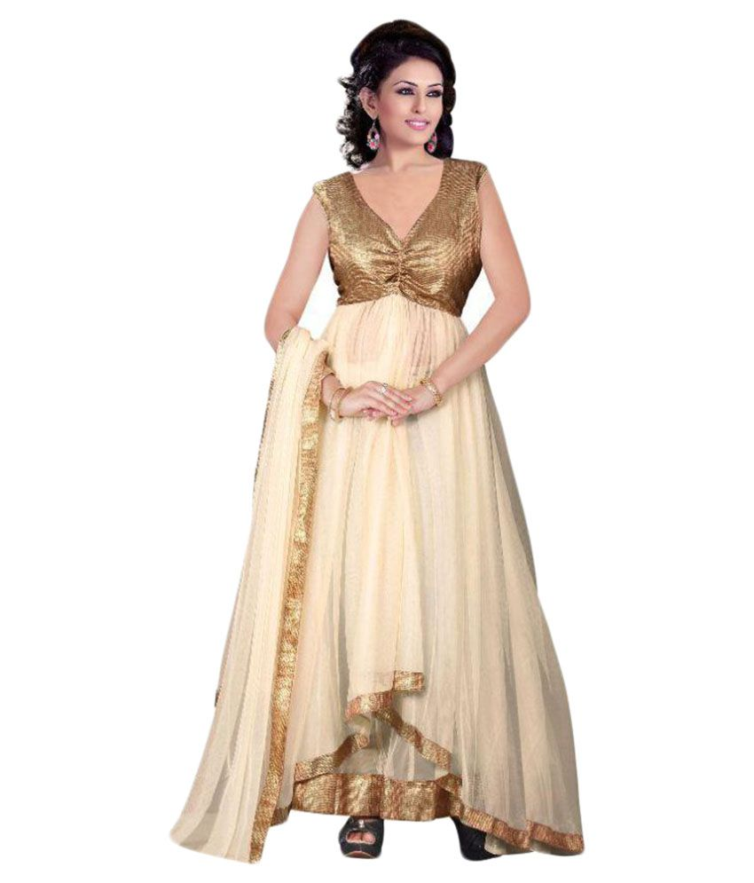 327117f0555b Mada Beige Net Anarkali Semi Stitched Suit available at SnapDeal for Rs.799