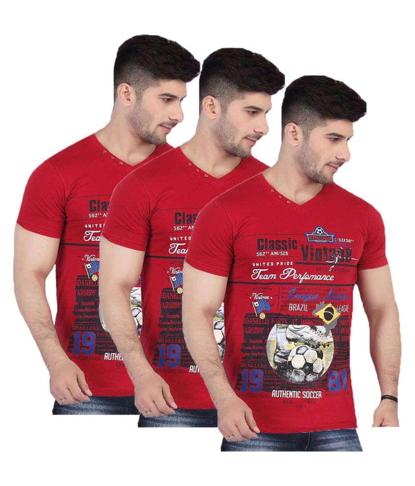V Plus 9 Red V-Neck T-Shirt Pack of 3