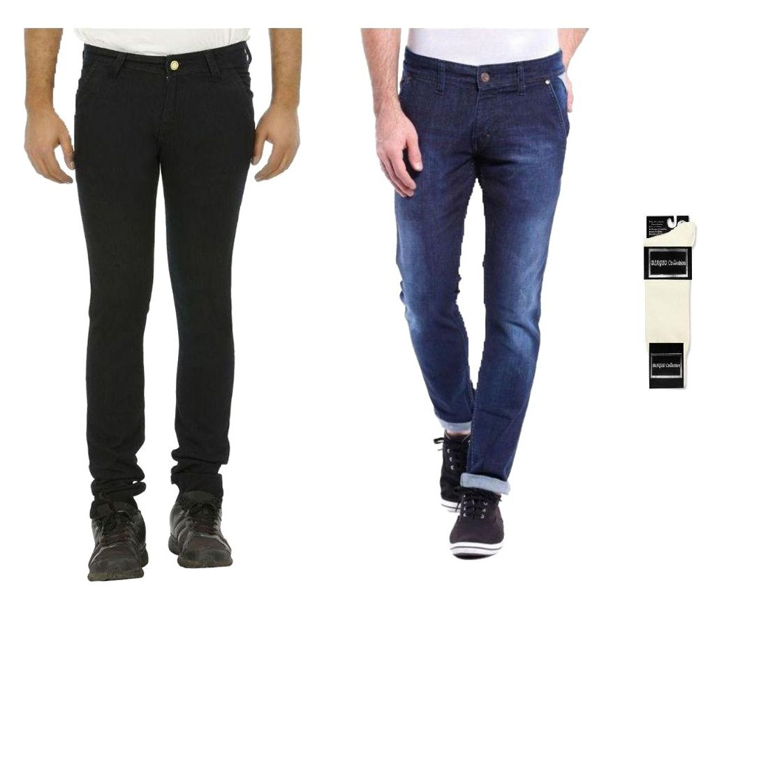 Urbano Fashion Multicolored Slim Fit Combo Of 2 Jeans With Free 1 Pair Of White Socks